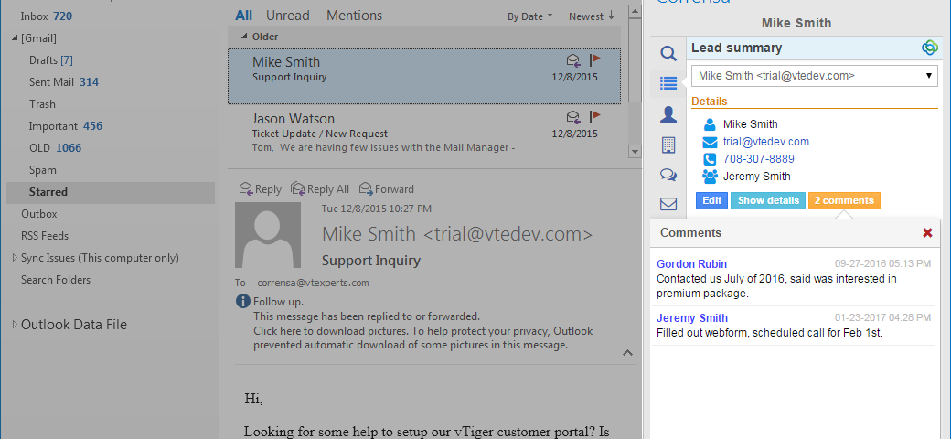 VTiger Outlook & Gmail Plugin - Add Comments
