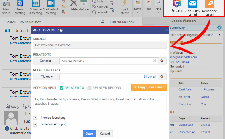 VTiger Advanced Email Linking