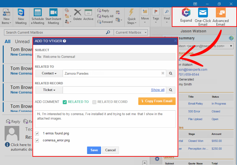VTiger Advanced Email Linking